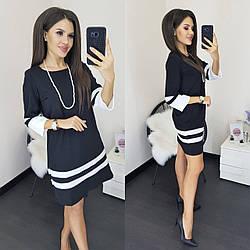 Лаконичное платье-трапеция в деловом стиле, с рукавом 3/4  S, M, L, XL, 2XL