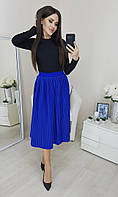 Модная плиссированная юбка миди электрик