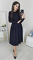 Модная плиссированная юбка миди черный