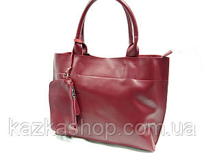Женская сумка из натуральной кожи на один отдел с длинными ручками и плечевым ремнем