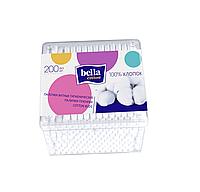 Палочки гигиенические, BELLA Cotton. Пластиковая прямоугольная упаковка (200 шт.)