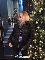 Женская блестящая куртка с напылением, на молнии и с капюшоном 3701237