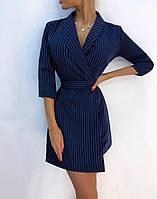 Платье в полоску на запах с отложным воротником и рукавом 3/4 2203820