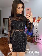 Платье футляр из сетки на подкладе с длинным рукавом и воротником 6603828Q