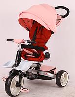 Детский трехколесный велосипед-коляска складной Crosser MODI T 600 ROSA EVA  розовый