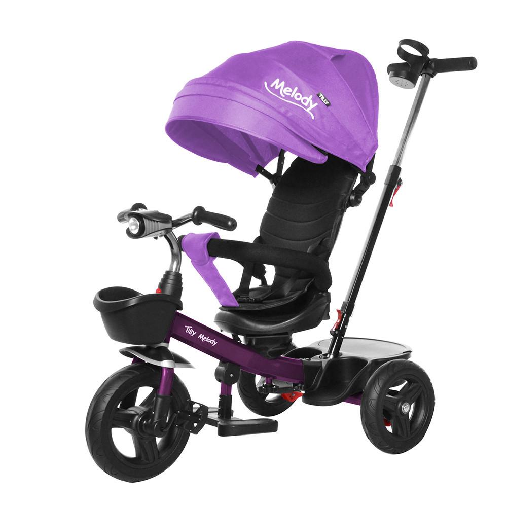 Детский трехколесный велосипед-коляска Melody T 385 фиолетовый