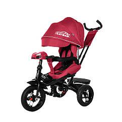 Детский трехколесный велосипед-коляска CAYMAN с пультом и усиленной рамой T 381 2 Лен красный