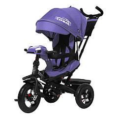 Детский трехколесный велосипед-коляска CAYMAN с пультом и усиленной рамой T 381 2 Лен фиолетовый