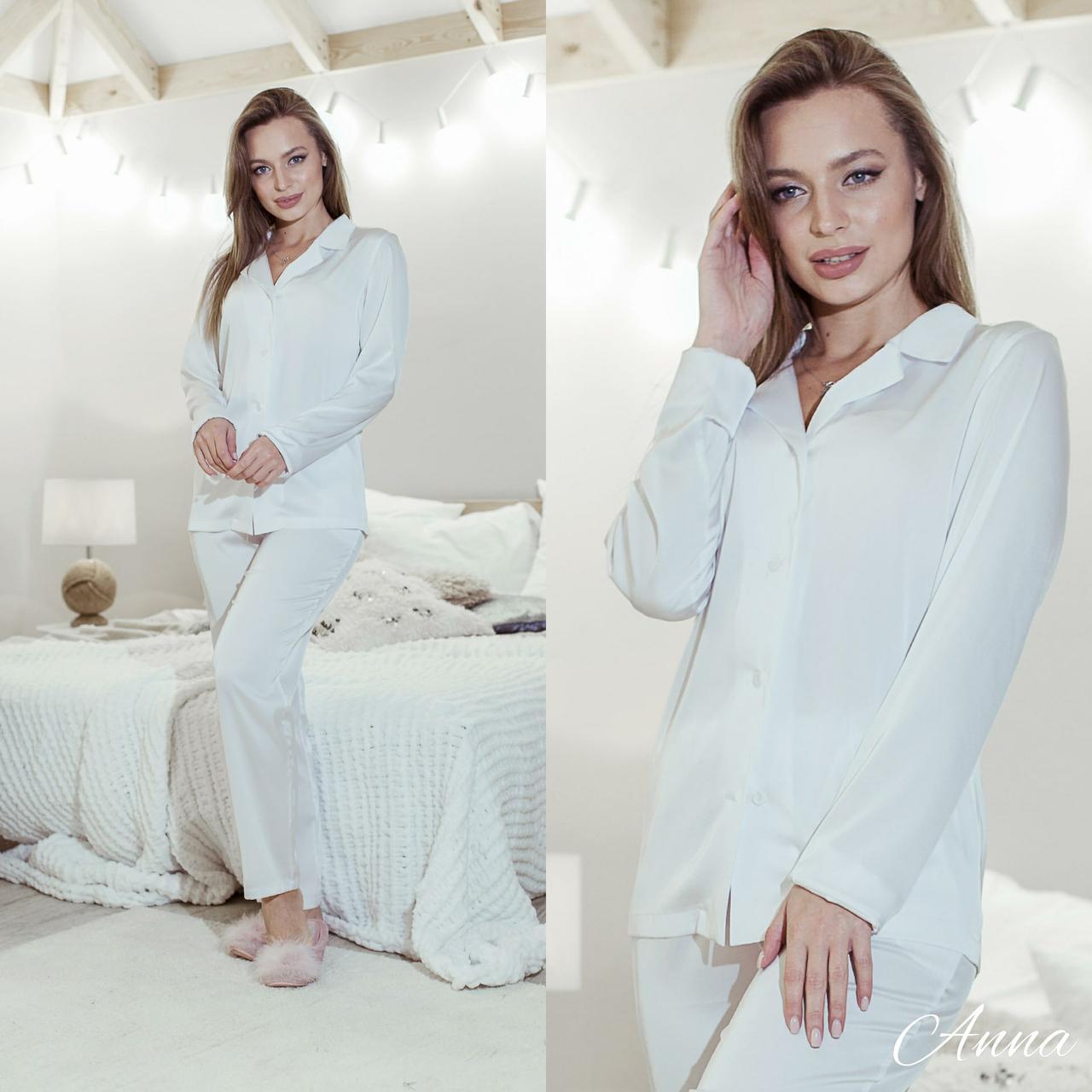 Шелковая женская брючная пижама с рубашкой на пуговицах 641976