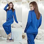 Шелковая женская брючная пижама с рубашкой на пуговицах 641976, фото 4