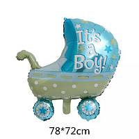 Большой фольгированный шар коляска для мальчика