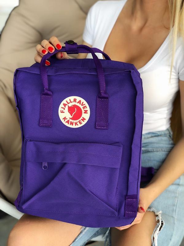 Модный женский фиолетовый рюкзак-сумка канкен Fjallraven Kanken classic на девочку