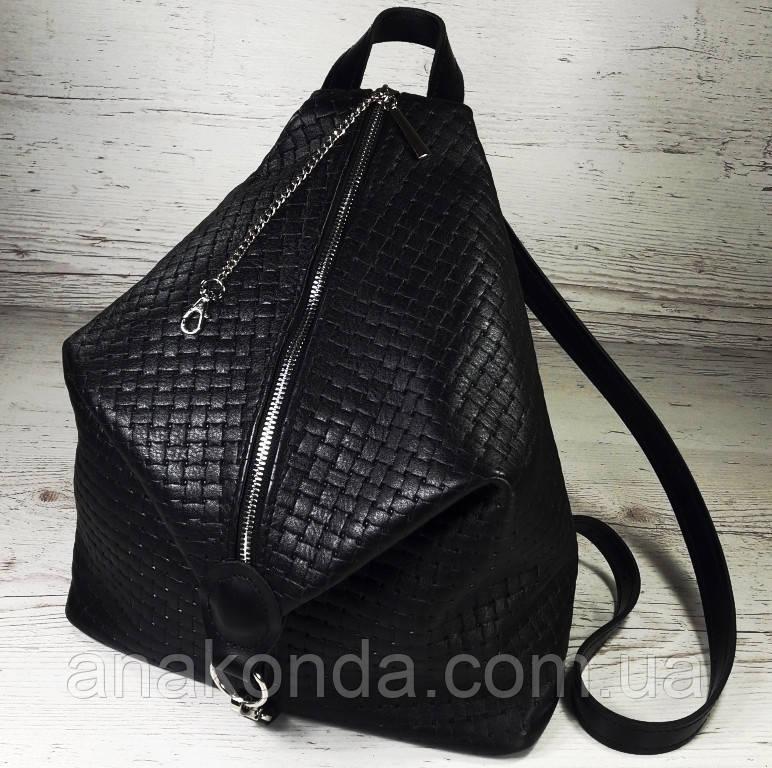 """291-1 Натуральная кожа, Городской рюкзак кожаный черный рюкзак женский черный рюкзак с карабином """"антивор"""""""