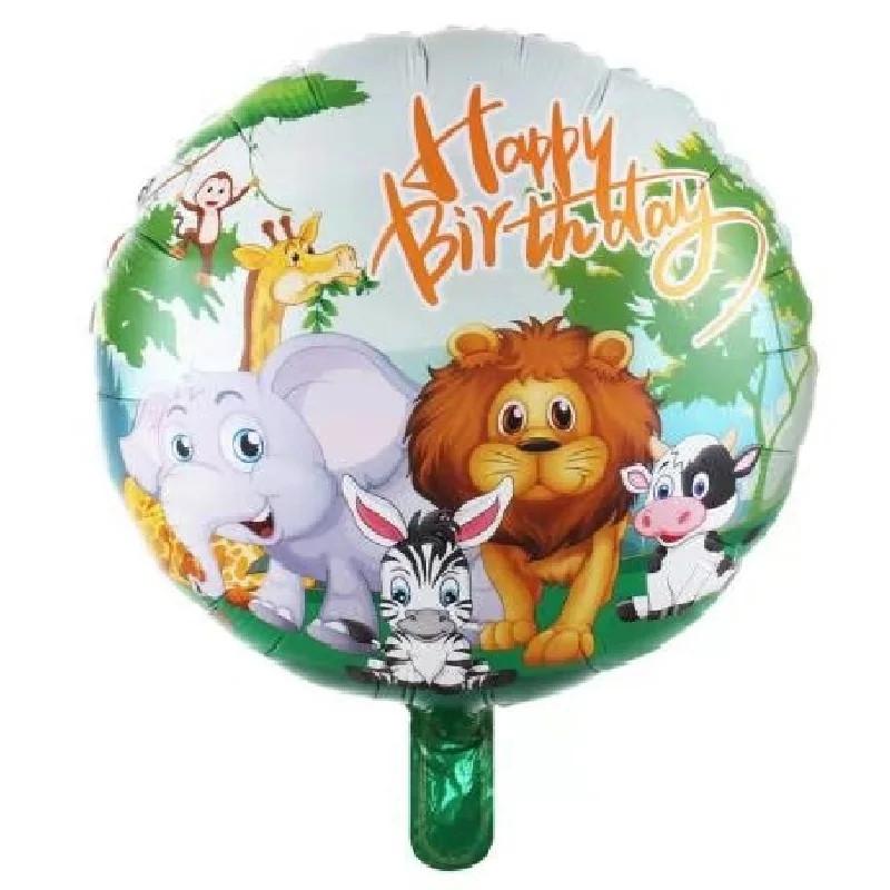 Воздушный шар с днем рождения животные в джунглях сафари зоопарк ферма