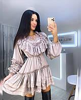 Платье женское красивое шелк Армани с кружевом и оборками мини Smf4055
