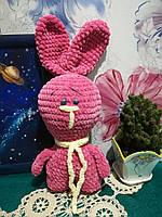Заяц Ушастик мягкая игрушка вязанная, размер 38 и 30 см, антистресс, холлофайбер / IG - 008