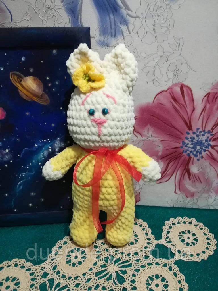 Зайка в пижаме - мягкая игрушка, размер 31 см, антистресс, холлофайбер / IG - 010