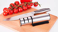 Точилка механическая двух ступенчатая, дискового типа для кухонных ножей
