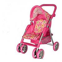 Коляска 9352/011 розовая для куклы,прогул,жел+ткань,рег.руч,колеса6шт