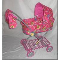Коляска для кукол 9325 Melogo Розовая железная, 67-63-35, корзина, сумка, выс до ручки - 66см
