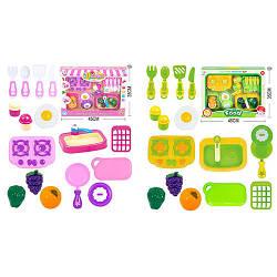Кухня игровая, плита, мойка, посуда, продукты на липучке, 14 предметов, 2 вида, 5003B-C