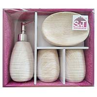 Набор аксессуаров для ванной комнаты 4 пр Белый Ясень Snt 888-06-027