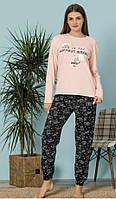Пижама Женская Хлопковая С длинным Рукавом Размер L (46)