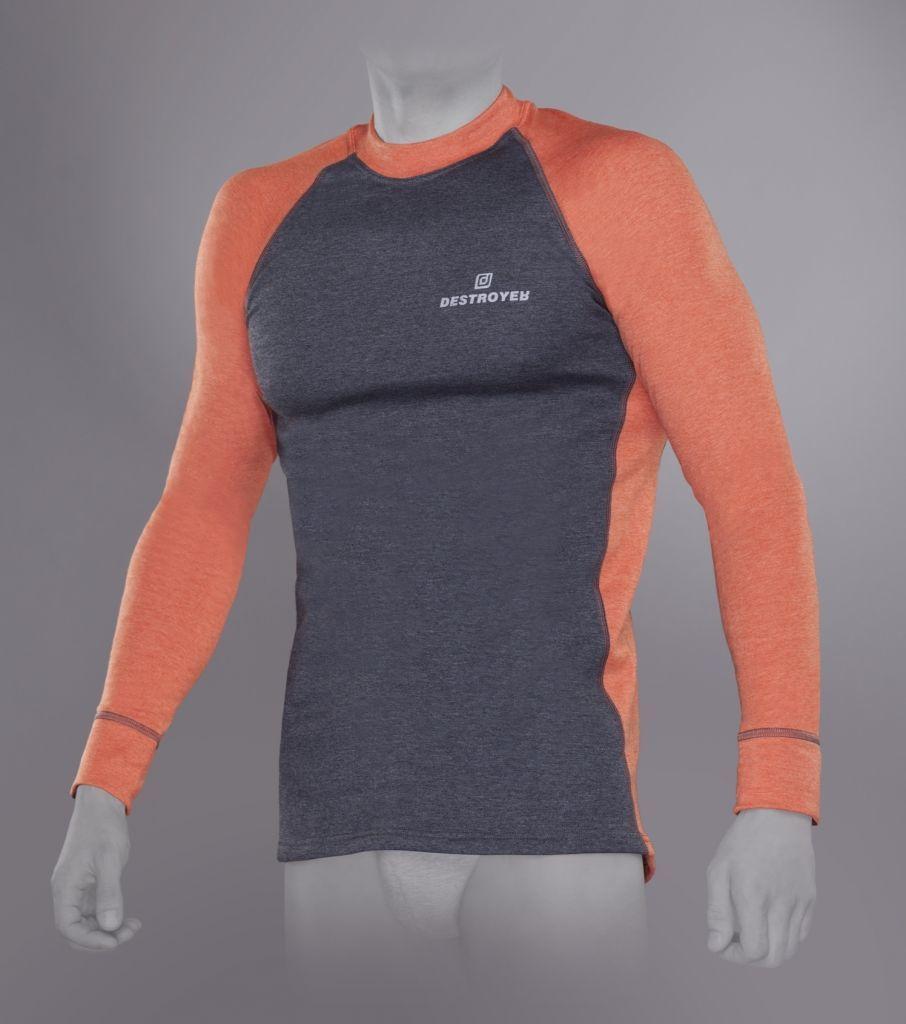 Футболка Tramp Outdoor Tracking Man с длинным рукавом мужская XL серый/оранжевый