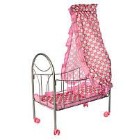 Кроватка 9394 (12шт) для куклы,желез,77-47-29см,балдахин,подушка,кол.повор,4шт, в кор-ке,28-46-6см Н