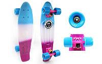 Скейтборд пластиковый Penny FISH COLOR POINT 22in полосатая дека с цветными болтами