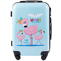 Детский чемодан на колесиках WINGS JAY Размер S Голубой с фламинго