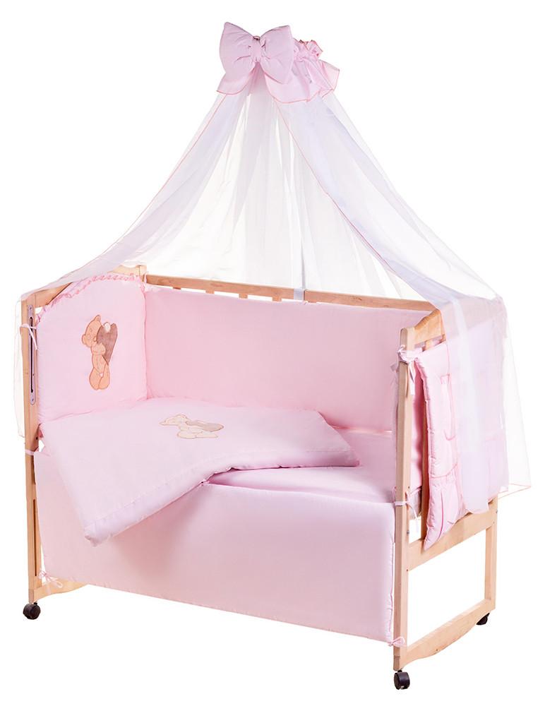 Детская постель Qvatro Ellite AE-08 аппликация  розовый (мишка стоит с сердцем)