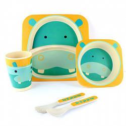"""Посуда детская """"Бегемот"""", бамбуковая, 5 предметов в наборе, MH-2770-28"""
