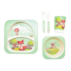 """Посуда детская """"Лиса"""", бамбуковая, 5 предметов в наборе, MH-2770-19"""
