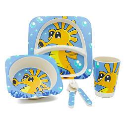"""Посуда детская """"Морской конек"""", бамбуковая, 5 предметов в наборе, MH-2770-18"""