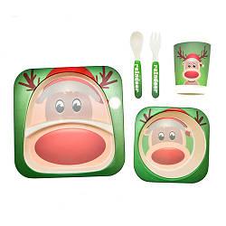 """Посуда детская """"Олененок"""", бамбуковая, 5 предметов в наборе, MH-2770-8"""