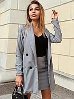Женский юбочный костюм с пиджаком в принт гусиная лапка 22KO433