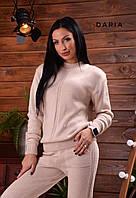 Женский вязаный брючный костюм с манжетами и шерстью в составе 55KO435