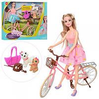 Кукла JND-1214 (18шт) 29см, велосипед, собачка 2шт, сумочка, 2цвета, в кор-ке,35-31-8,5см Н
