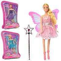Кукла 99022 (48шт) фея, волшебная палочка, 3цвета, на листе, 24-35-5,5см Н