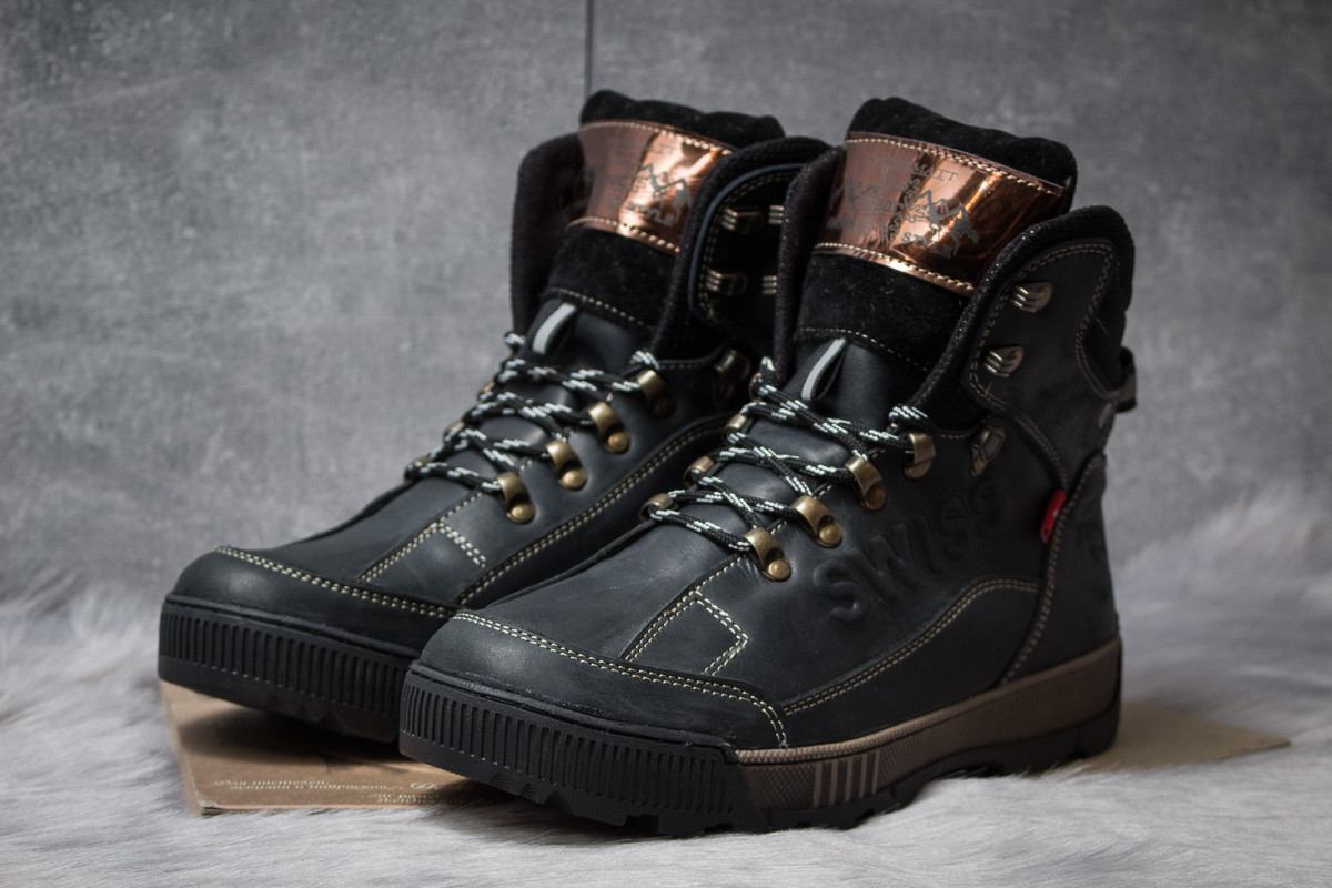 Зимние мужские ботинки 30641, Switzerland Swiss, черные ( размер 41 - 27,0см )