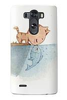 Чехол для LG G4 (Котик с рыбкой)