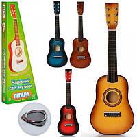 Гитара M 1369 (20шт) дерев,58см, струны 6шт, запасная струна, медиатор, 4 цвета, в кор-ке, 59-22-7см Н
