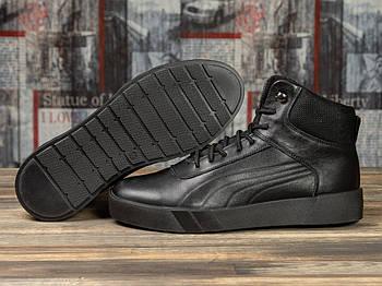 Зимние мужские кроссовки 31141, Puma Desierto Sneaker, черные ( размер 40 - 26,5см )