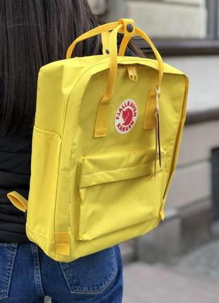 Рюкзак-сумка канкен желтый Fjallraven Kanken classic школьный, для девочки