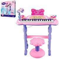 Детское пианино-синтезатор 6613 на ножках со стульчиком. Микрофон