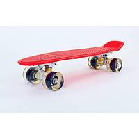 Скейт Пенни борд (Penny board), светятся колёса MS 0848-2, красный