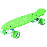 Скейт Пенни борд (Penny board), светятся колёса MS 0848-2, зеленый