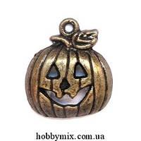 """Метал. подвеска """"хэллоуинская тыква"""" бронза (1,7х1,8 см) 8 шт в уп."""
