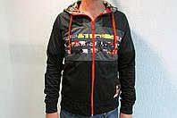 Мужская толстовка Adidas (21937) черная с капюшоном код 129в